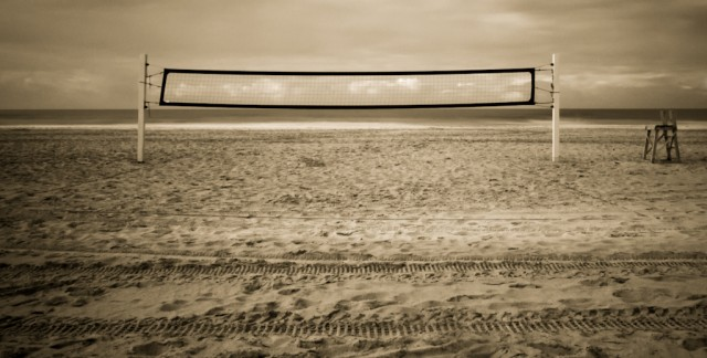 beach volleyball net in black and white