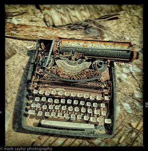typewriter on ground