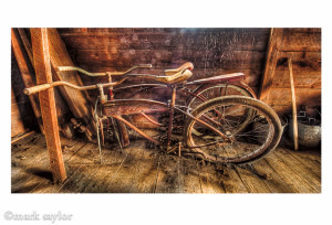 bicycles in attic of barn